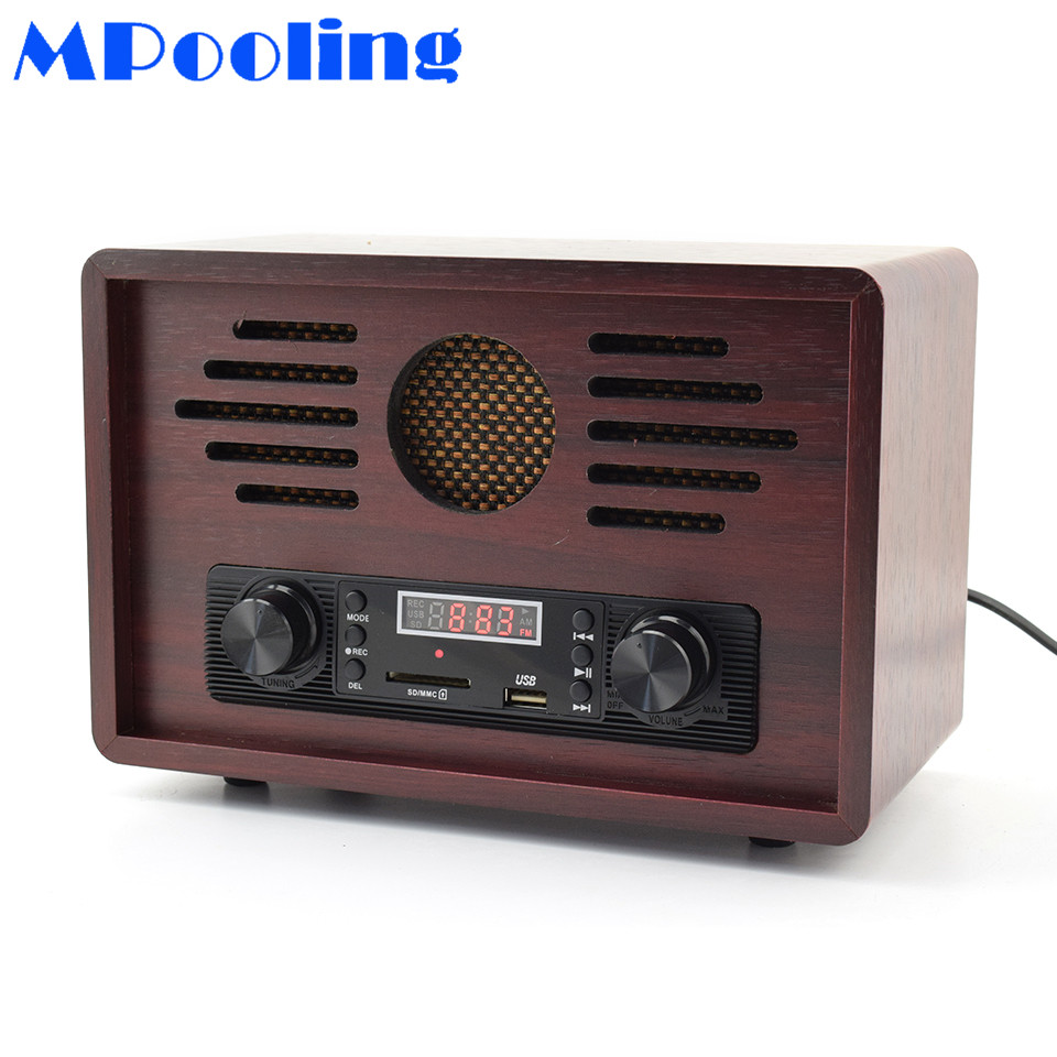 MPooling Tabletop AM/FM HiFi Wooden Radio Vintage Retro Classic USB/SD Player W/ Built-in Speaker FM Recorder 110~130V/220~240V n74u portable media player speaker magaphone w tf usb fm microphone black