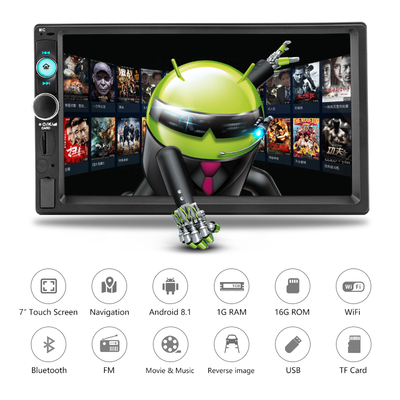 "Image 2 - Jansite 7"" 2din Car Radio Digital player Touch screen Android 8.1 Multimedia player mirror link Autoradio Support Backup camera-in Car Multimedia Player from Automobiles & Motorcycles"