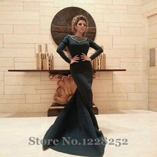 Elegant Myriam Fares Evening Dresses with Long Sleeves Dark Navy Blue Mermaid Evening Gowns Backless Formal Dress Arabic