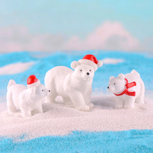 miniature Christmas Polar bear figurines fairy mini garden h