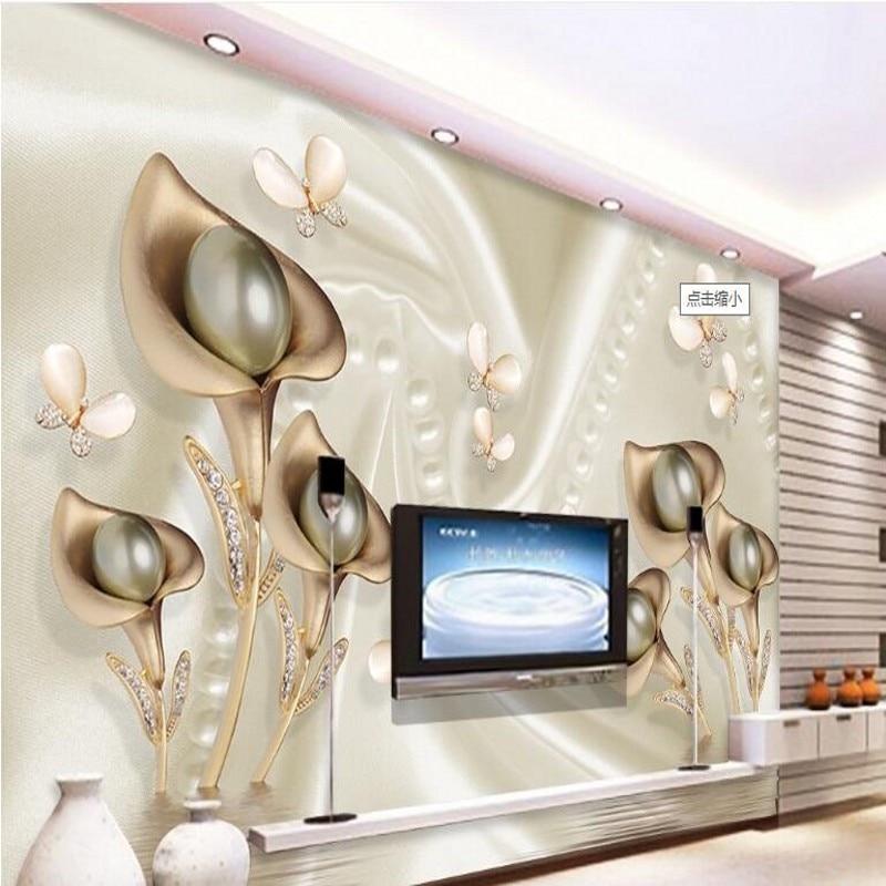 beibehang Custom large frescoes 3D Calla Butterfly silk water wave reflection TV backdrop non - woven wallpaper papel de parede