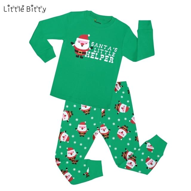 New Boys Christmas Pajamas Santa s Little Helper Printing Pyjamas Children  2pc Long Sleeve Cotton Boys Christmas 8d142a14c