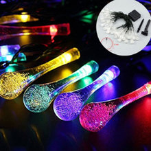 Solar String Light-Outdoor Lamps 6M 30LED for Christmas Home Decoration-Water Drop Multi Color