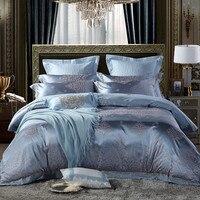 4 pçs luxo prata cetim jacquard algodão colcha conjunto de cama rainha king size capa edredão conjunto parure de lit|Conjuntos de cama| |  -