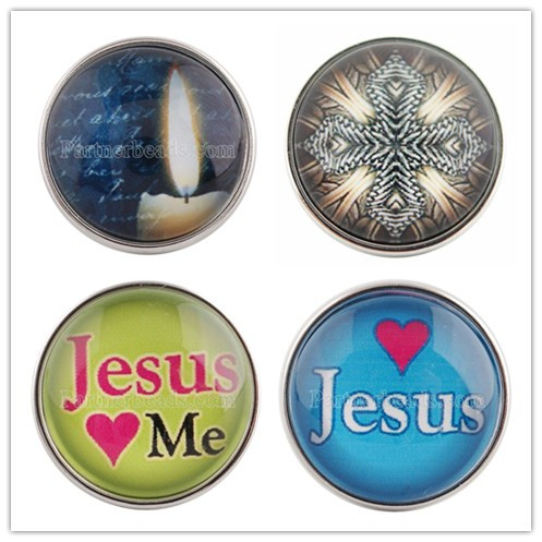 New Fashion DIY 20mm glass print snaps button Jesus cross snap jewelry fit for snap Bracelet fit ginger snaps jewelry C0021