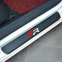 4pcs Carbon Fiber Car Scuff Plate Door Sill Guard Car Sticker For Seat Leon 2 FR
