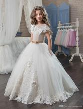 Ball Gown Lace Flower Girls Dresses For Weddings Short Sleeve Children First Communion Dress Sweep Train Tulle Pageant Gown FH39