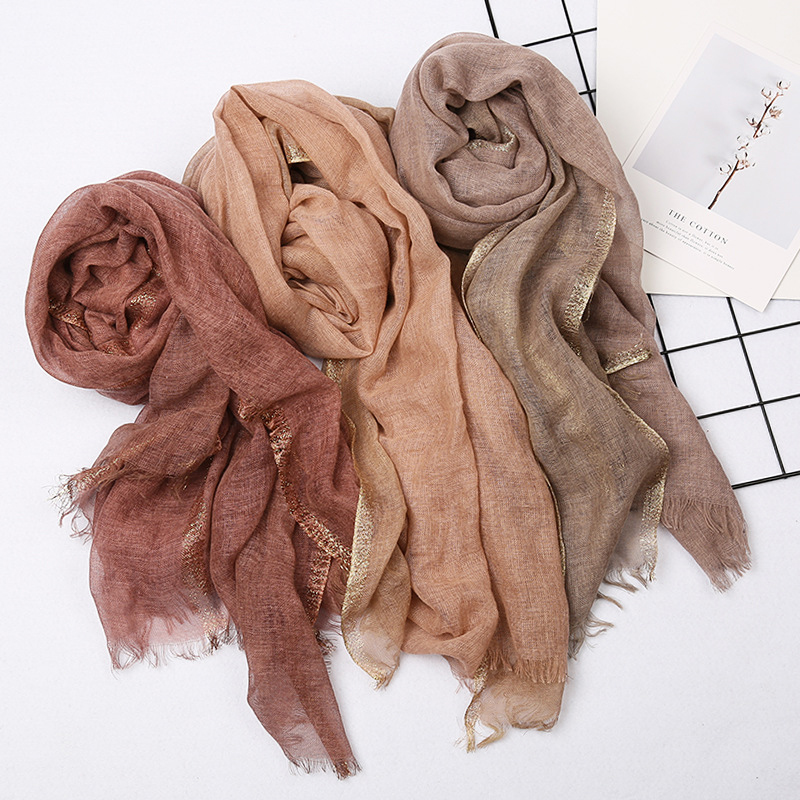 Fashion Designer Linen Cotton Scarf Women Solid Color Muslim Hijab Scarves Shawls Plain  Big Pashmina Wrap Head Hair Scarf