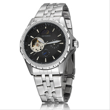 OUYAWEI tourbillon skeleton mechanical watch automatic flywheel clock men stainless steel strap sport wristwatch reloj hombre