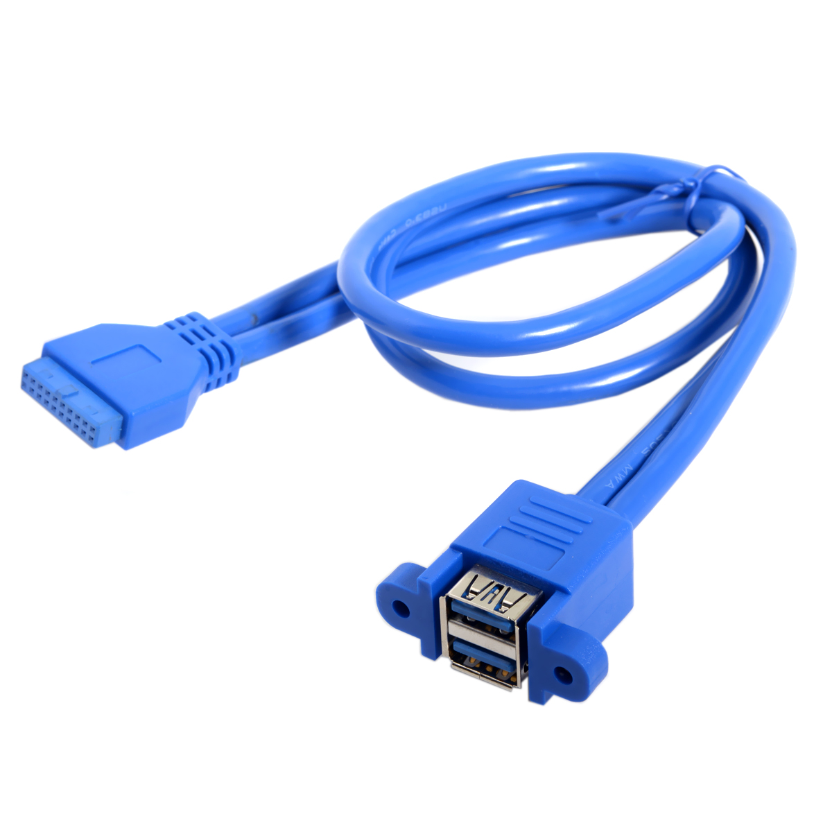 10pcs/lot    Dual Ports Stackable USB 3.0 Female Panel Type to Motherboard 20Pin Header Cable 50cm
