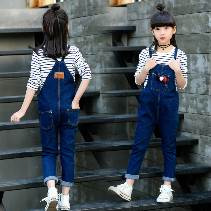 Girls Jeans Overalls For Girl Denim 2017 Autumn Pocket Jumpsuit Bib Pants Children's Jeans Baby Girls Overall For Kids 3-12Years luxury good quality new fashion women zipper jumpsuit slim fit skinny jeans rompers pocket denim jumpsuits size sexy girl casual