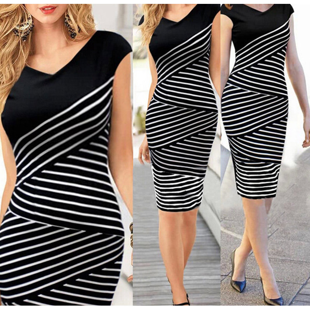 3f686d62261 Women Summer Casual Contrast Color Black and White Stripe Stitching V Neck  Knee-Length Broadcloth Party Dress