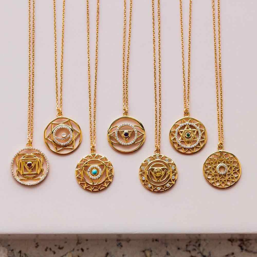 Gold Chakra Necklace  Chakra Pendant  Indian Yoga Necklace 7 Gold Color Chain Jewelry for Women Drop Shipping