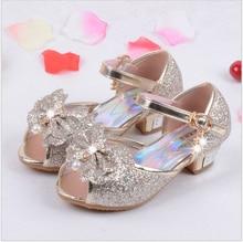цена на qloblo Children Princess Sandals Kids Girls Wedding Shoes High Heels Dress Shoes Party Shoes For Girls Pink Blue Gold
