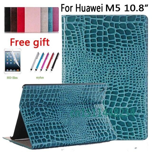 2018 new luxury crocodile PU Leather Case For Huawei MediaPad M5 10 Pro Cover M 5 10.8 CMR-AL09/W09 Slim smart Case+film+pen new 2017 luxury crocodile pattern leather cover case for ipad pro 10 5 inch tablet stylus film