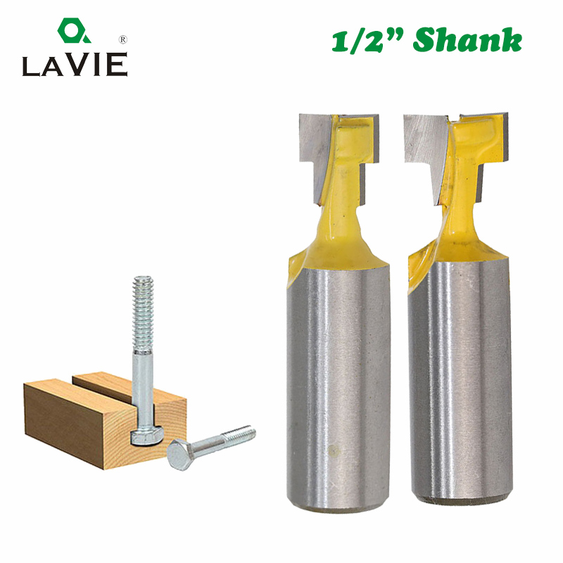 LA VIE 1pc 1/2 Inch 12.7mm Shank T-slot Router Bit Hex Bolt Key Hole Knife Keyhole Woodworking Milling Cutter End Mill MC03053