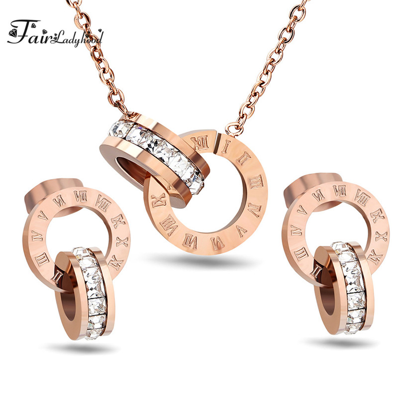 Fairladyhood Lucky Roman Digital Pendant Necklace Set Stainless Steel Clavicle Pendant Fashion Wild Stainless Steel Jewelry Set цена