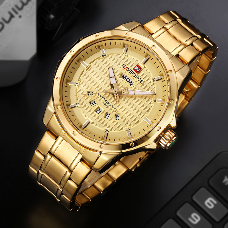 Men Watches NAVIFORCE Luxury Brand  Sport Quartz Watch Men's Waterproof Full Steel Fashion Man Wristwatch mens Relogio Masculino new fashion mens watches gold full steel male wristwatches sport waterproof quartz watch men military hour man relogio masculino