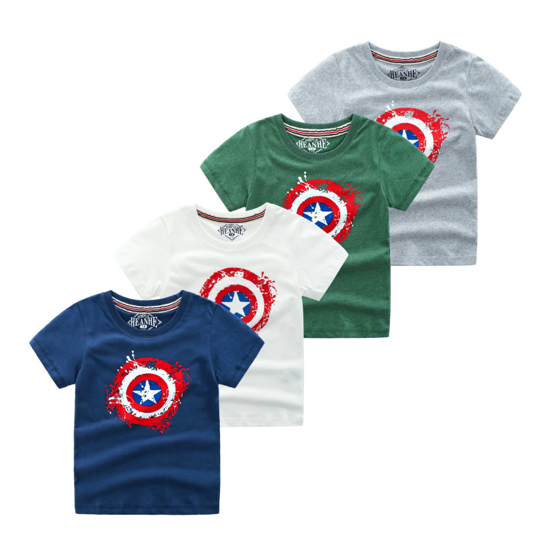 Kids Boys Short Sleeve T Shirts Cotton Captain America Tops Youngster Tee Shirt Children Clothing 4-10year Boys SweatshirtKids Boys Short Sleeve T Shirts Cotton Captain America Tops Youngster Tee Shirt Children Clothing 4-10year Boys Sweatshirt
