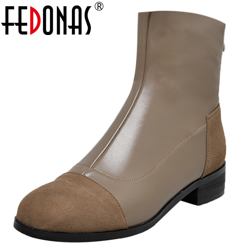 FEDONAS Elegant Women High Heels Ankle Boots Round Toe Patchwork Autumn Winter Shoes Woman Back Zipper Basic Motorcycle Boots FEDONAS Elegant Women High Heels Ankle Boots Round Toe Patchwork Autumn Winter Shoes Woman Back Zipper Basic Motorcycle Boots