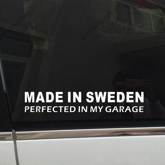 Made In Sweden Perfected In My Garage Swedish Funny Car Decal - Funny car decal stickers