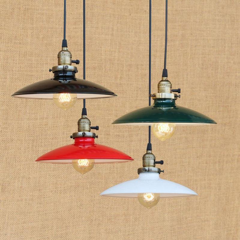 Red Loft Pendant Light Vintage Industrial Retro Ceiling Lamps Dining Room Lamp Restaurant Bar Counter Attic Lighting led bulb