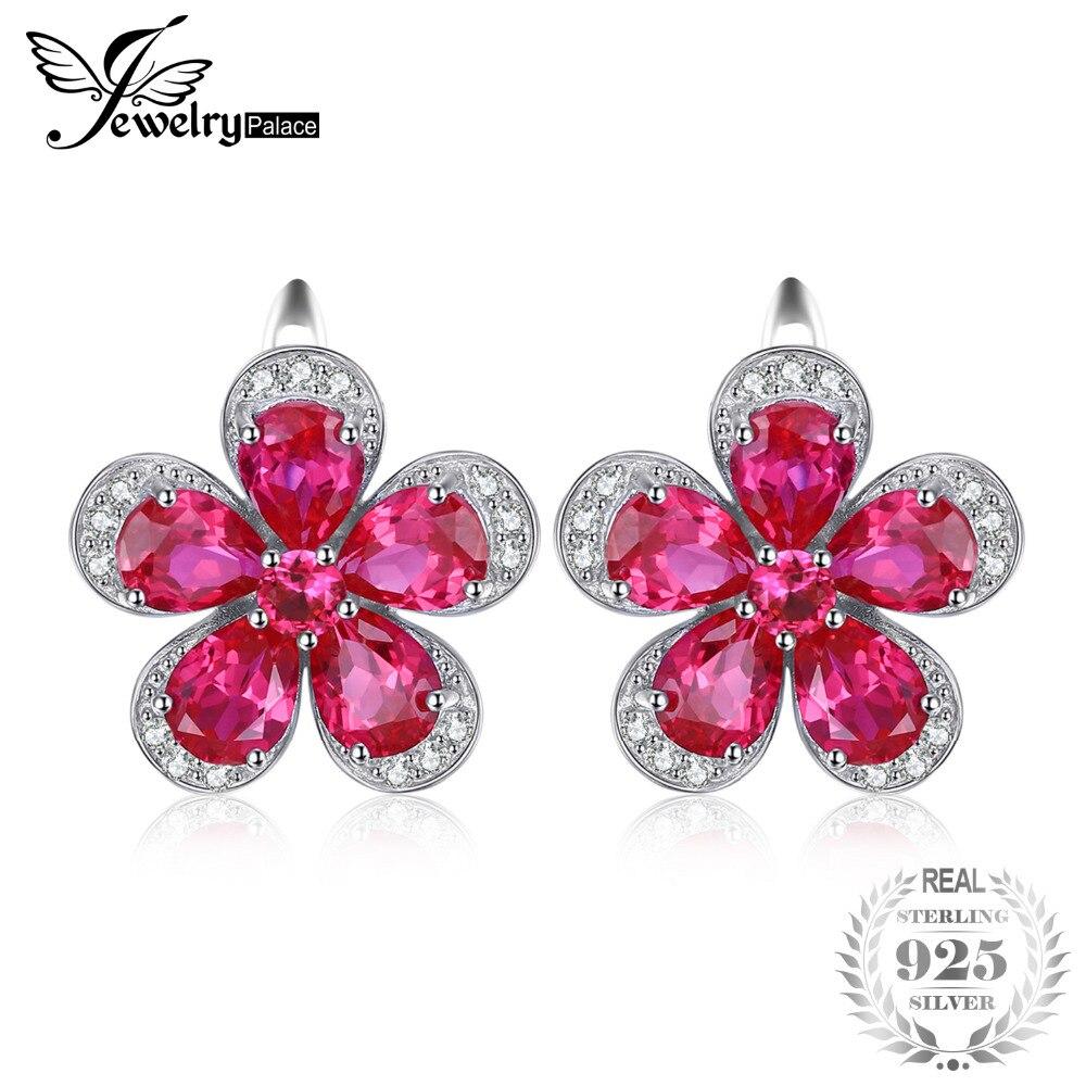 Jewelrypalace Fleur 5.5ct Creaed Rouge Ruby Clip Sur Boucles D'oreilles 925 Sterling Argent Boucle D'oreille pour les Femmes Design De Mode Fine Jewelry