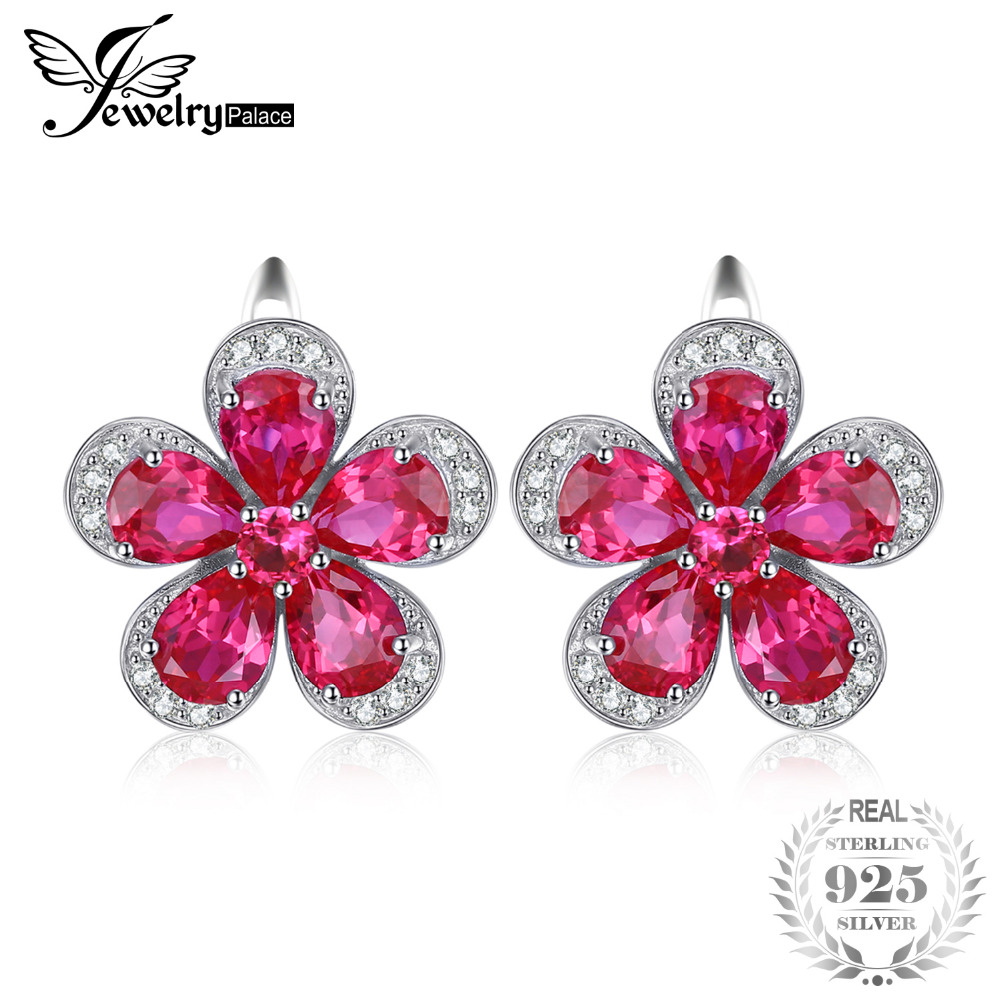 Jewelrypalace Flower 5.5ct Creaed Red Ruby Clip On Earrings 925 Sterling Silver Earring for Women Fashion Design Fine Jewelry