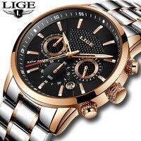 Lige top бренд класса люкс мужские водонепроницаемые часы Военные Спортивные часы Нержавеющаясталь многофункциональные кварцевые наручные