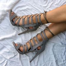 цена на Lace UP Cut Out High Heel Sandals Black Hollow Cage Stiletto Thin Heels Shoes Summer Open Toe Party Dress Shoes Free Ship