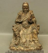 free shipping S06919 24 Folk China Purple Bronze Ancient Warrior Dragon Seat Guan Gong Yu God Statue
