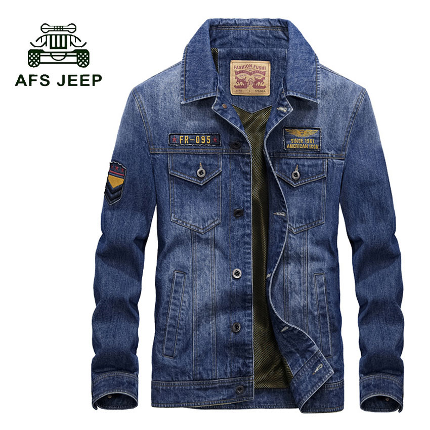 AFS JEEP Size M-3XL style jeans jacket men Cotton Overcoat Casual Denim jacket men coat Brand-clothing 2017 Mens coats 168z afs jeep autumn jeans mens straight denim trousers loose plus size 42 cowboy jeans male man clothing men casual botton page 3