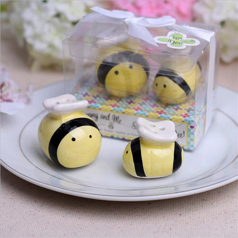 Creative Ceramic Bee Salt Pepper Shaker Wedding Favors And Gifts