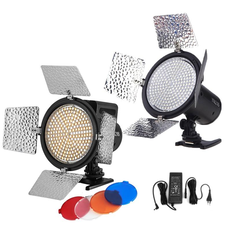 Yongnuo YN216 5500K 3200 5500K Bi color LED Video Fill Light Lighting with 4 Color Filters