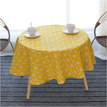 RZCortinas Wedding Party Table Cloth Round Rectangular Solid Yellow Black  Cotton Linen Tablecloth Birthday Dining Table
