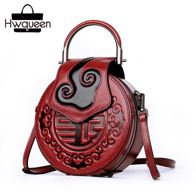 China Vintage Embossed Auspicious Clouds Designer Genuine Cow Leather Women Red Round Bag Purse Metal Handle Ladies Mini Handbag все цены
