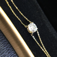 Solid 14K 585 Yellow Gold 1 Carats Ct F Color Moissanite Diamond Bracelet For Women Test
