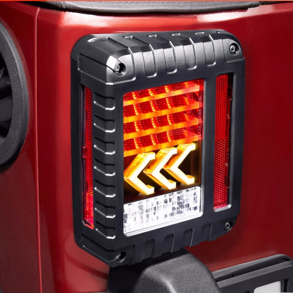 LED Tail Lights for JK 2007-2017 Jeep Wrangler with Reverse Yellow Arrow Turning Signal Light Tail Lamp Assembly Brake Backup