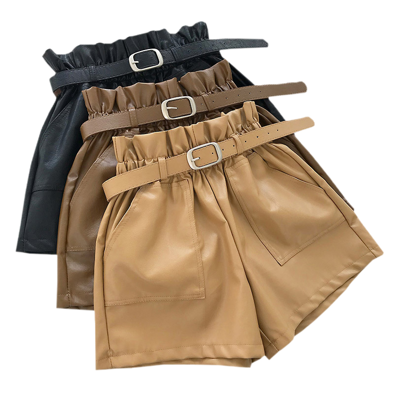 2019 Autumn PU Leather Shorts For Women High Waist Loose Wide Leg Shorts Winter Casual Femme Elastic Waist Belt Leather Shorts