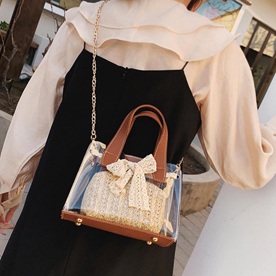 Handbags Women Messenger-Bags Jelly-Chains Lace Shoulder-Crossbody-Bags Bucket Beach-Bag