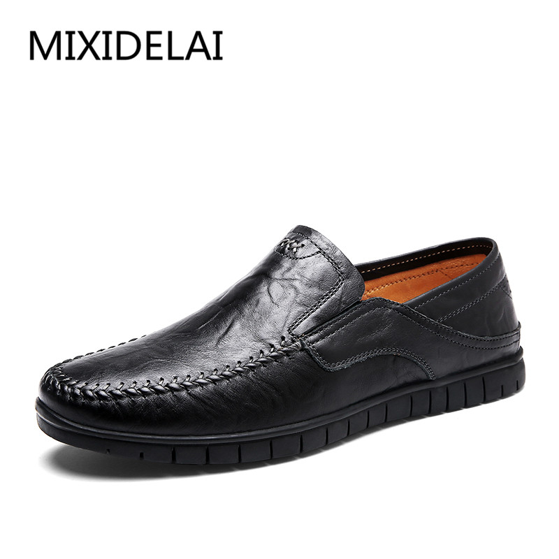 Size 43 44 Summer Genuine Leather Shoes Men Casual Moccasins Mens Slip-On Loafers Breathable Driving Black Shoes men s summer slip on casual moccasins genuine the penny loafers breathable shoe boat driving shoes in leather flat shoes for men