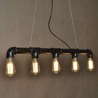5 head Loft vintage pendant lights Iron Pipe Lamp Kitchen Home Decoration With E27 Edison bulb water pipe pendant light