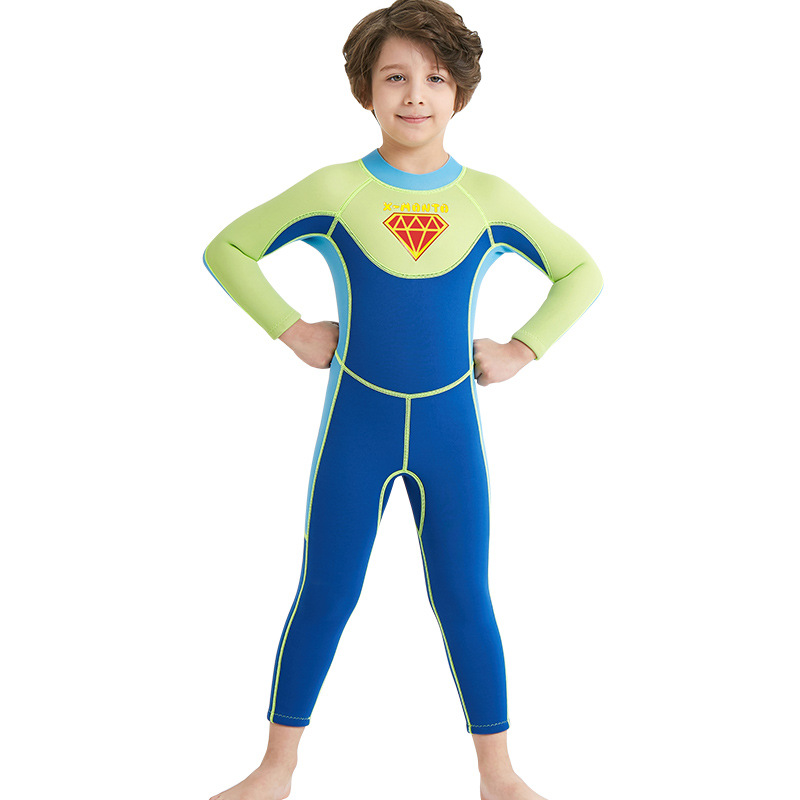 3.1      58、New children's diving suit 2.5MM Siamese boy wetsuit long-sleeved warm swimsuit sunscreen swimwear for four seasons