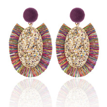 Bohemian Ethnic Tassel Earrings For Women Fashion Sequin Big Sector Drop Dangle Earring Statement Handmade Jewelry