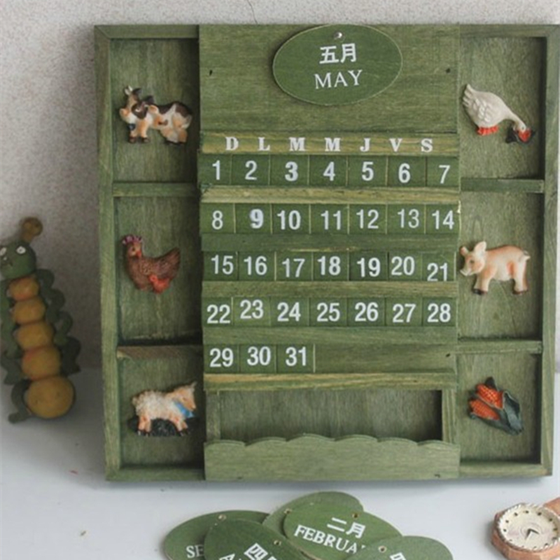 Creative calendar Literary style wooden Home Furnishing decorative calendars DIY Cute Kawaii Wooden Perpetual Wall calendar