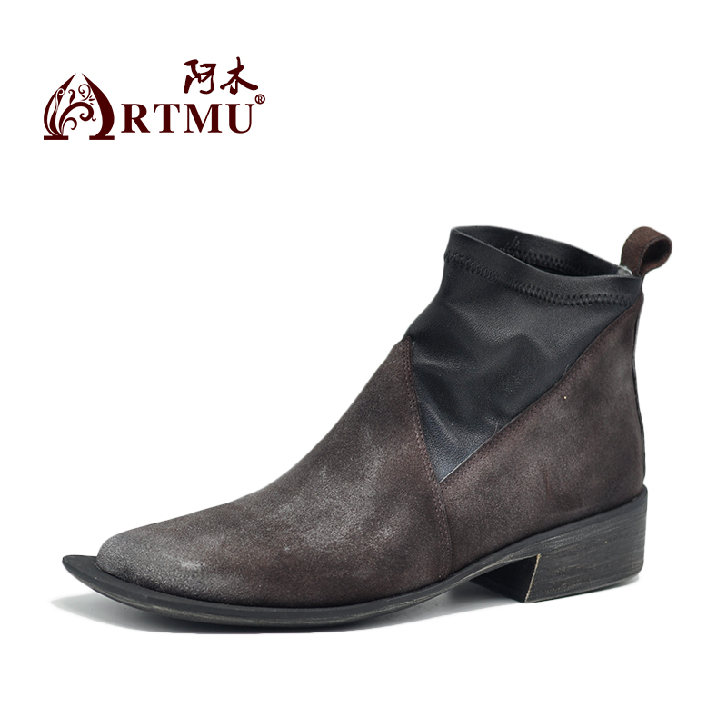 Artmu Fashion Women Boots Handmade Ankle Chelsea Boots Woman Shoes Cowhide Flat heel Short Boots Genuine Leather Shoes winter boots women ankle boots for women genuine leather boots chelsea boots fashion short low heel shoes woman hot sale
