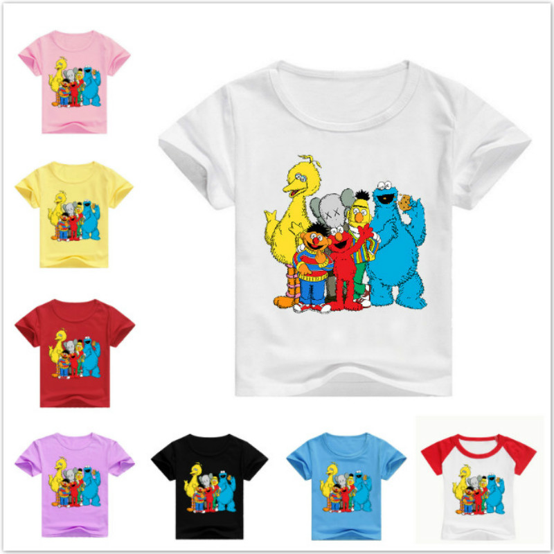 New Children Cartoon Sesame Street Elmo Funny T Shirt Summer Kids Short Sleeve T-shirts Baby Boys Girls Tops Baby Casual Clothes