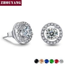 Silver Color Hearts Arrows cut 0 75 carat Cubic Zirconia Silver Color Stud Earring Wedding Earrings