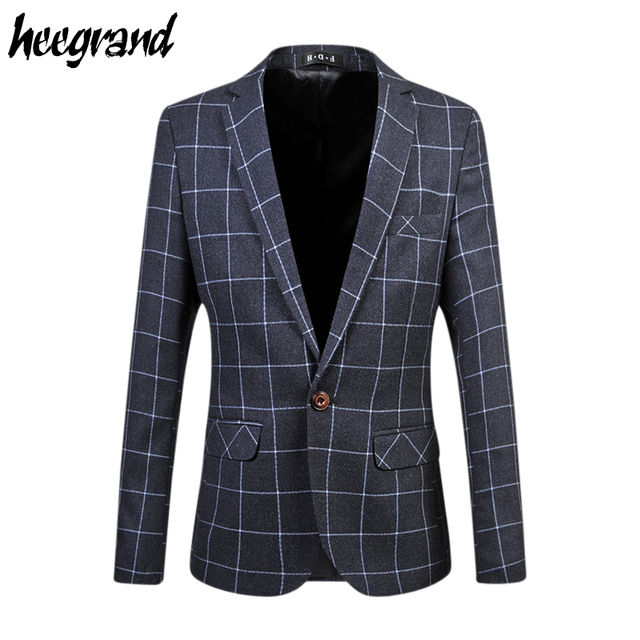 2016 New Arrival Men's Casual Blazers Long Sleeve Classic Simple Plaid Fashion Suit For Man Drop Shipping MWX215
