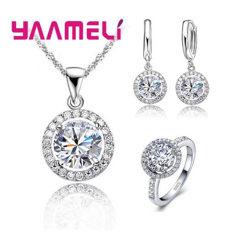 925 Sterling Silber Zirkon Schmuck Sets Frauen Österreichischen Kristall Hochzeit Anhänger Halskette Ohrring Ring Schmuck Set Dame